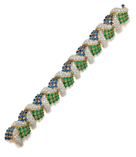 A Diamond, Sapphire, Emerald and Gold Bracelet