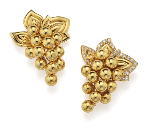A Companion Pair of Diamond and Gold 'Grape' Brooches