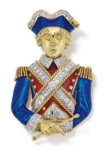 A Diamond, Colored Diamond, Enamel and Gold Brooch/Pendant