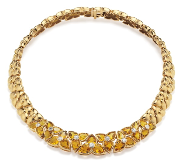 A Citrine, Diamond and Gold Necklace