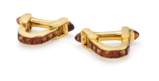 A Pair of Citrine and Gold Cufflinks