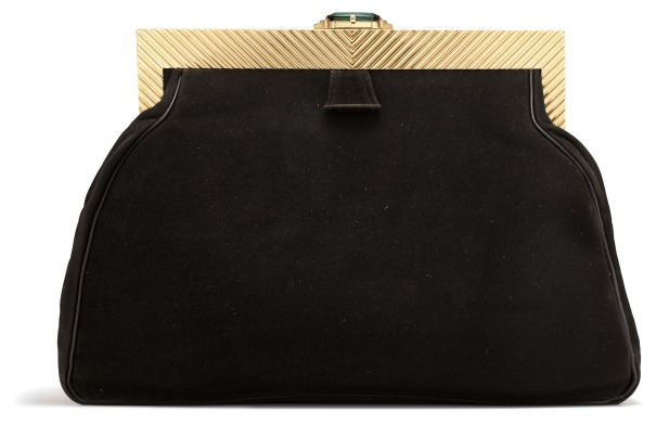 A Suede, Tourmaline and Gold Evening Bag