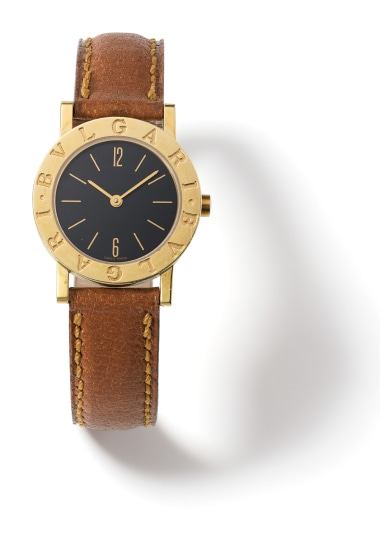 A Gold, Lacquer and Leather 'Bvlgari Bvlgari Lady' Wristwatch