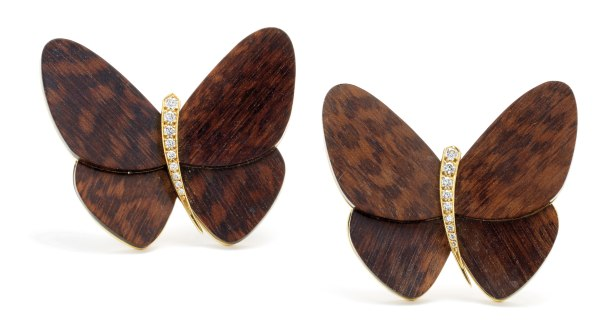 A Companion Pair of Wood, Diamond and Gold Brooches