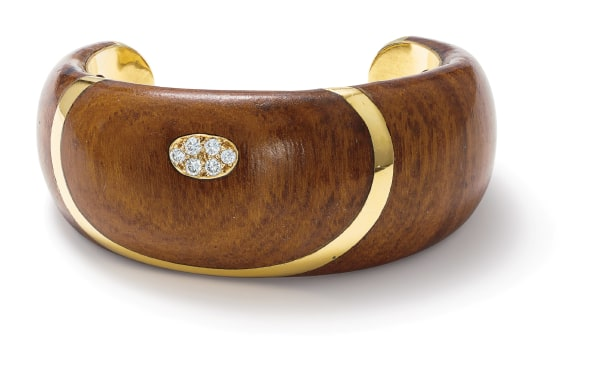 A Wood, Diamond and Gold Bracelet