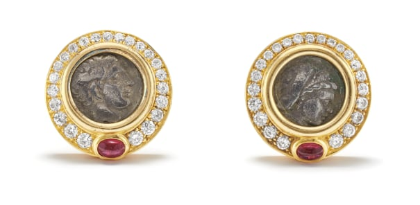 A Pair of Coin, Diamond, Ruby and Gold Earrings