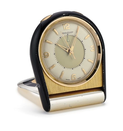 A Stainless Steel, Enamel and Gold-Plated Travel Clock