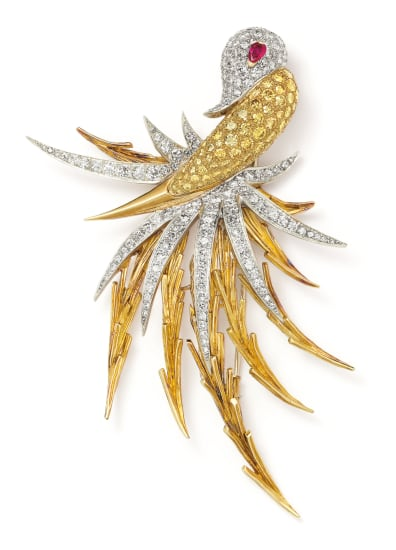A Diamond, Colored Diamond, Ruby, Platinum and Gold Brooch
