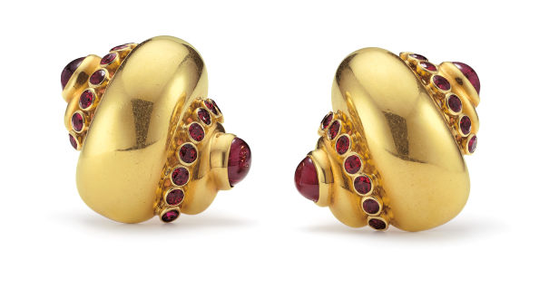 A Pair of Ruby and Gold Earrings