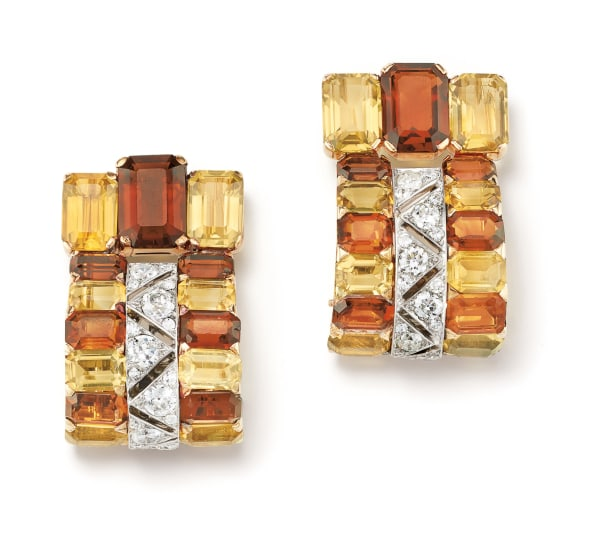 A Pair of Citrine, Diamond, Gold and Platinum Clip Brooches