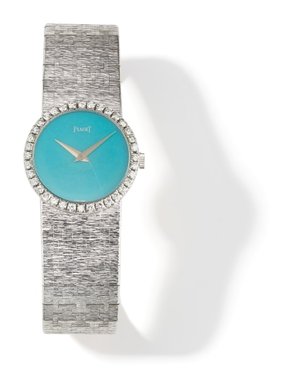 A Diamond, Turquoise and Gold Wristwatch