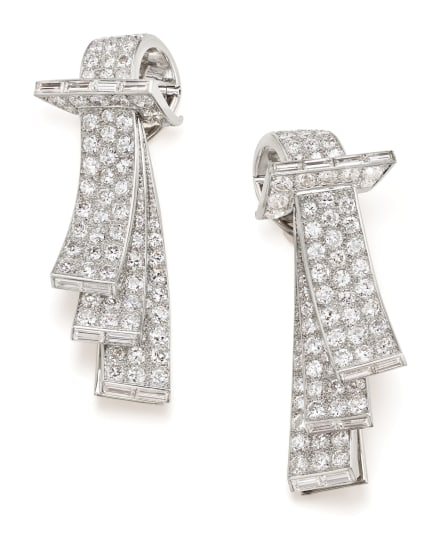 A Pair of Art Deco Diamond, Platinum and Gold Clips