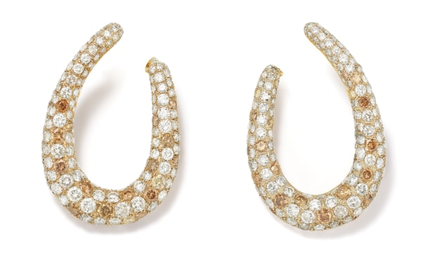 A Pair of Diamond, Colored Diamond and Gold Earrings