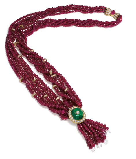 A Ruby, Emerald, Diamond and Gold Necklace