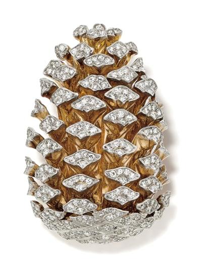 A Diamond, Platinum and Gold 'Pine Cone' Brooch/Pendant