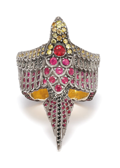A Colored Diamond, Diamond, Ruby, Gold and Silver Ring
