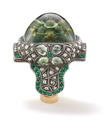 A Rock Crystal, Diamond, Chrysoberyl, Emerald, Gold and Silver 'Blue Mosque' Ring