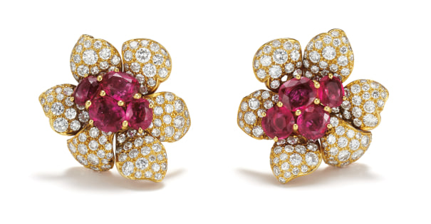 A Pair of Ruby, Diamond and Gold-Topped Platinum Earrings