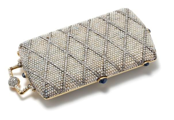 An Art Deco Seed Pearl, Diamond, Enamel, Sapphire and Gold Minaudière