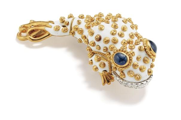 A Diamond, Sapphire, Enamel, Platinum and Gold Brooch