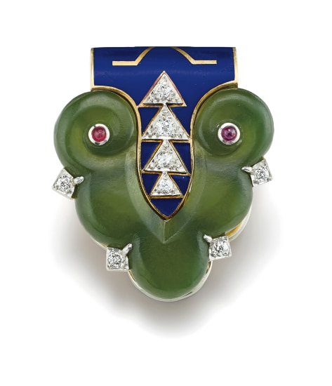 An Art Deco Nephrite, Diamond, Enamel, Ruby and Gold Clip