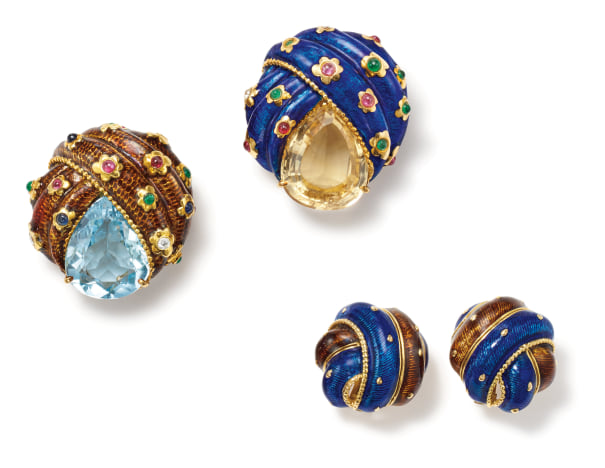 A Suite of Enamel, Multi-Gem, Diamond and Gold 'Turban' Jewelry