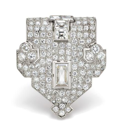 An Art Deco Diamond and Platinum Clip Brooch