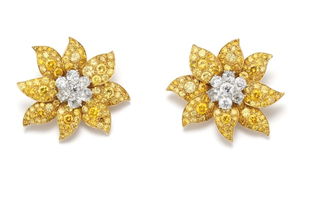 A Pair of Diamond, Colored Diamond, Platinum and Gold Earrings