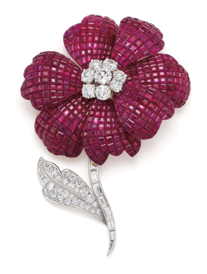 A Ruby, Diamond, Platinum and Gold Brooch