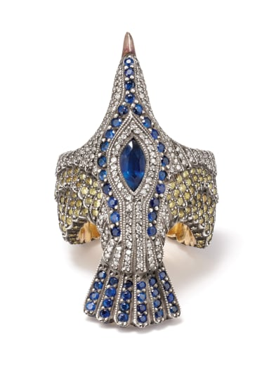 A Diamond, Sapphire, Gold and Silver 'Seagull' Ring