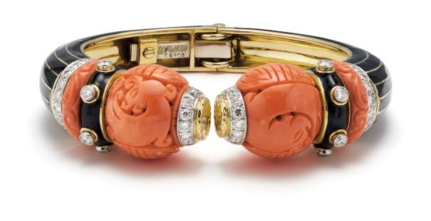 A Coral, Diamond, Enamel, Platinum and Gold Bracelet
