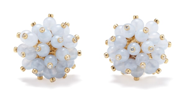 A Pair of Chalcedony, Diamond and Gold Earrings
