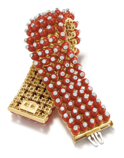 A Coral, Diamond and Gold Bracelet
