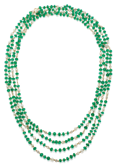 A Diamond, Emerald, Seed Pearl and Gold Necklace