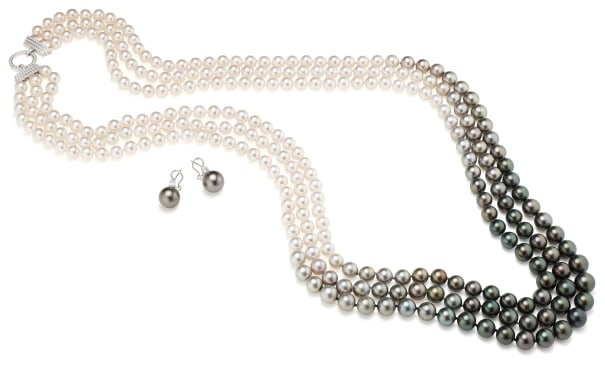 An Akoya and Tahitian Cultured Pearl, Diamond and Gold Necklace and Pair of Earrings