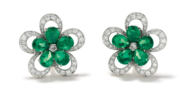 A Pair of Emerald, Diamond and Gold Earrings
