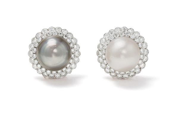 A Pair of Tahitian and South Sea Cultured Pearls, Diamond and Gold Earrings