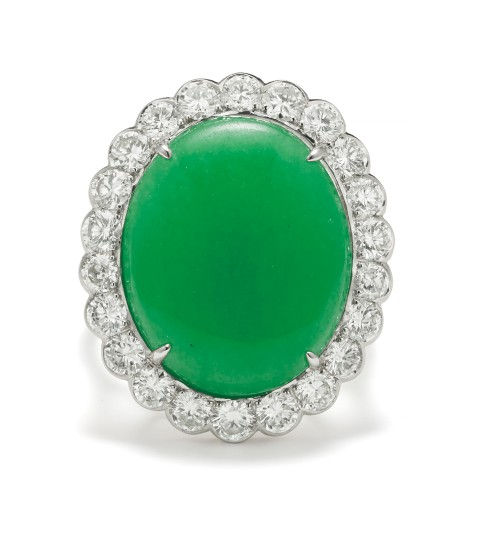 A Jade, Diamond and Gold Ring