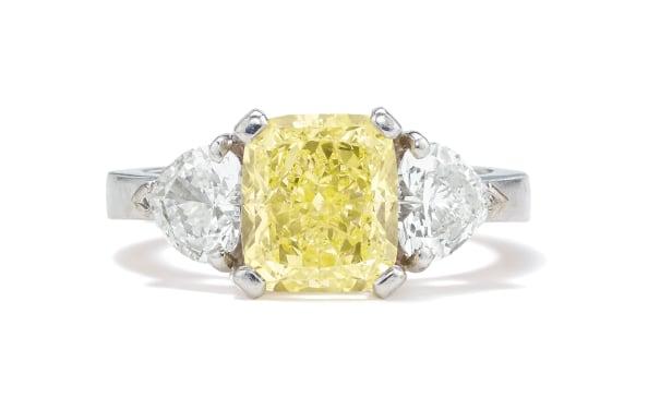 A Fancy Diamond, Diamond and Gold Ring