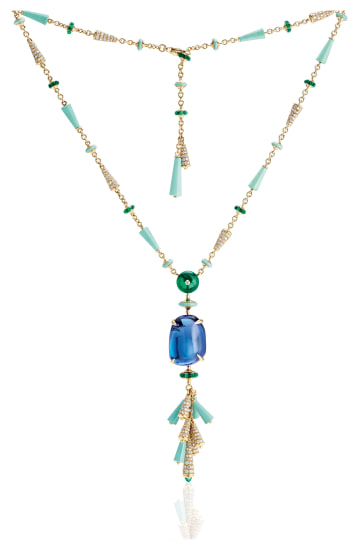 A Tanzanite, Diamond, Emerald, Turquoise and Gold Necklace