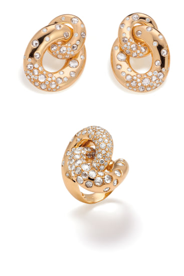 A Pair of Diamond and Gold 'Chillout' Earrings and Ring