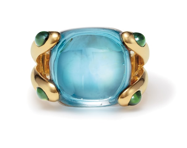 A Topaz, Tourmaline and Gold 'Candy' Ring