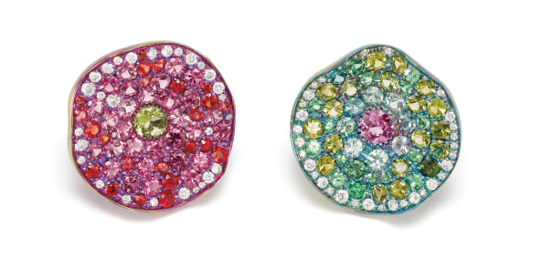 A Pair of Diamond, Multi-Gemstone, Gold and Titanium Earrings