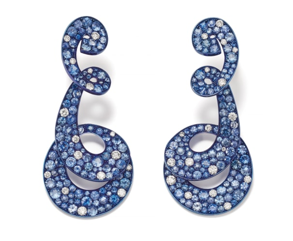 A Pair of Sapphire, Diamond, Gold and Titanium Earrings