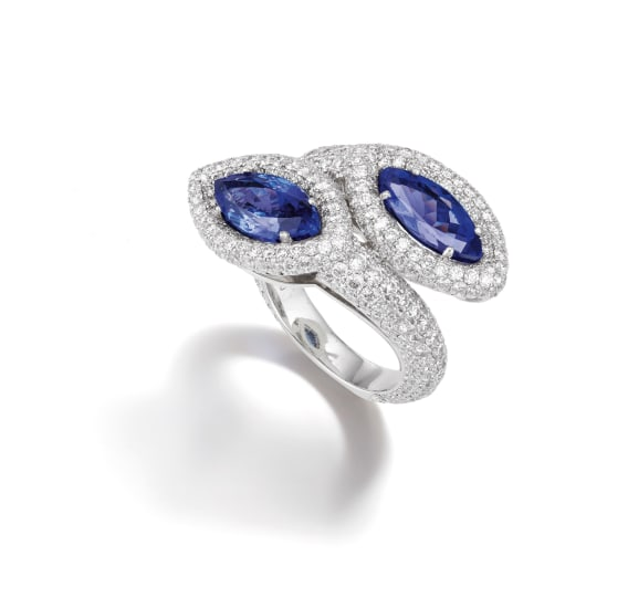 A Tanzanite, Diamond and Platinum Ring