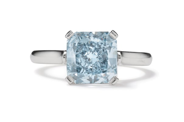 An Important Fancy Intense Diamond and Platinum Ring