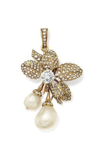 An Antique Natural Pearl, Diamond and Gold Brooch/Pendant
