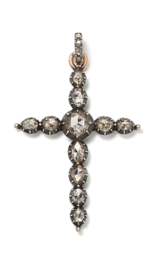 A Diamond, Gold and Silver-Topped Gold 'Cross' Pendant