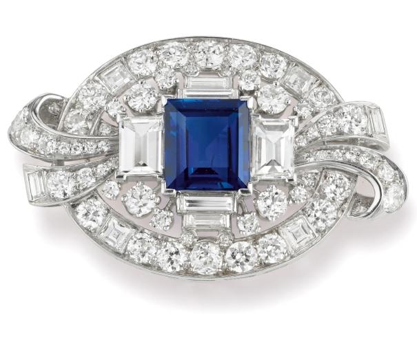A Sapphire, Diamond and Platinum Brooch