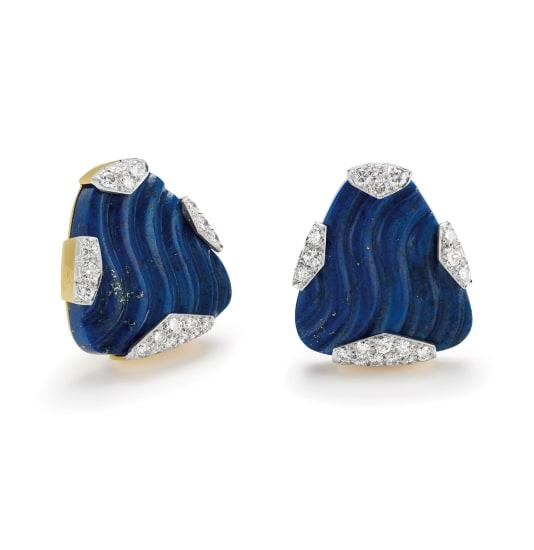 A Pair of Lapis Lazuli, Diamond, Platinum and Gold Earrings